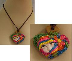 Secret Garden Fairy Necklace Jewelry Handmade NEW Polymer Clay Art Accessories