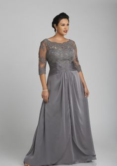 Plus Size Lace Bodice with 3/4 Length Sleeves Chiffon Long Mother of the Bride / Wedding Guest Dresses 7503