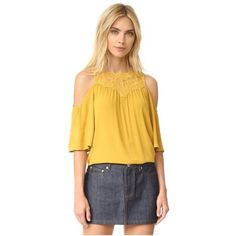 Ella Moss Olivier Cold Shoulder Blouse ($150) ❤ liked on Polyvore featuring tops, blouses, mustard, cold shoulder blouse, embroidery blouses, short sleeve blouse, sheer top and yellow blouse