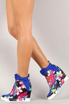 Privileged Floral Print High Top Wedge Sneaker