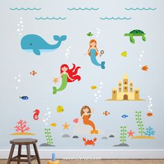 Overview Create the perfect nursery or kids bedroom space with these stylish Mermaid Wall Decals from Maxwill Studio. - Easy to apply, just peel and stick - Removable, reusable, repositionable - Non-t