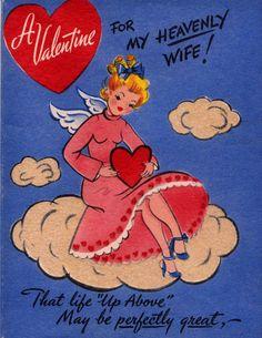 Vintage UNUSED A Valentine For My Heavenly Wife Greetings Card (B7)