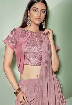 Pink Lycra Fancy Saree with Designer Blouse Dresses Online Usa, Indian Dresses Online, Indian Sarees Online, Fancy Sarees, Party Wear Sarees, Saree Blouse Neck Designs, Lehenga Designs, Blouse Patterns, Stylish Blouse Design