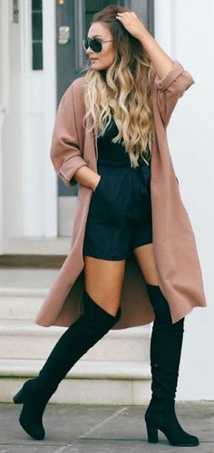 Street style | Black romper, over the knee boots and trench coat