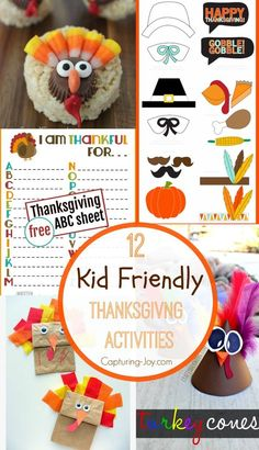 12 Kid Friendly Thanksgiving Family Activities! See them all on Capturing-Joy.com!