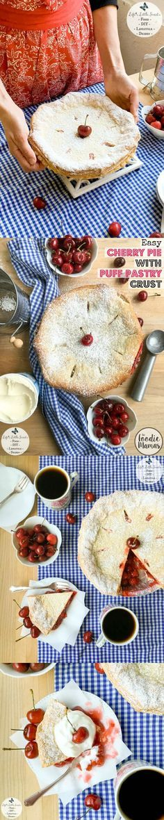 This Easy Cherry Pie with Puff Pastry Crust comes together in 50 minutes with ready-made ingredients and has a touch of unique with a light and crisp puff pastry crust. Enjoy a delicious slice topped with ice cream, whipped cream and fresh cherries! Check out all the #FoodieMamas Cherry Recipes in the roundup!