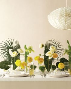 calla lily palm leaf centerpieces - Google Search