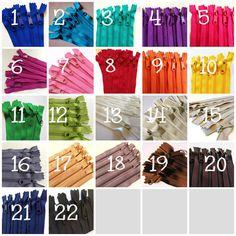 9 inch Handbag zippers, 100 pcs, YKK zippers wholesale, choose colors - red, pink, purple, aqua, turquoise, green, orange, yellow, neutrals