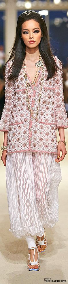 #Chanel #Cruise 2015 Dubai - Runway Love the jacket but not the harem pant.