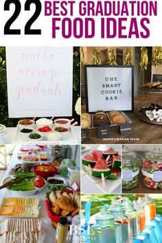 I am so making some of these graduation party dessert ideas Graduation party season is quickly approaching and it's time to think about the food! These graduation party food ideas will have your guests saying Graduation Party Desserts, Outdoor Graduation Parties, Graduation Party Centerpieces, Graduation Party Themes, College Graduation Parties, Graduation Decorations, Graduation Party Decor, Grad Parties, Diy Party Decorations