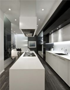 Urban Townhomes, Downtown Living, Edition Richmond, Sleek Modern Interior Design, Millwork and Storage Contemporary Kitchen Design, Modern Interior Design, Interior Architecture, Design Kitchen, Minimal Kitchen, Long Kitchen, Modern Loft, Custom Kitchens, Kitchen Interior