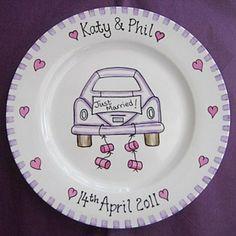 Purple Car Just Married Personalised Wedding Plate - £32.95.
