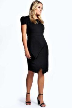 Izzy Cap Sleeve Asymmetric Hem Midi Dress at boohoo.com
