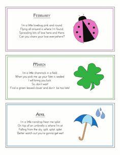Song a Month Cute songs to put in a pocket chart Preschool Poems, Kindergarten Songs, Preschool Music, Preschool Class, Preschool Printables, Preschool Lessons, Preschool Activities, Colour Activities, Preschool Learning