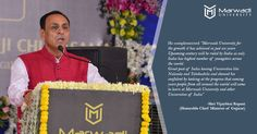 On the day of inauguration of Marwadi University Chief Minister Mr Vijay Rupani complimented the growth of Marwadi University has achieved in past six years!  Proud to have you in the Campus Sir!!  Your words are important to us!  #CMVisit #Inauguration #MarwadiUniversity #QuotesFromSpeech