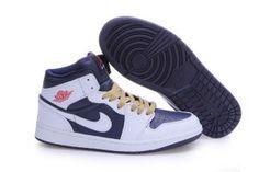 Men Air Jordan 1 White Dark Blue White Shoes
