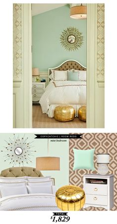 A mint and gold bedroom #RoomRedo by #LindseyBoyer  for only $1623