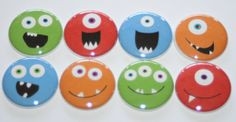 Monster Faces Flat Back Flair Button Set by TheFlairShop on Etsy, $4.00