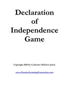 Declaration of Independence review game---because maybe someday I'll get to teach history again...