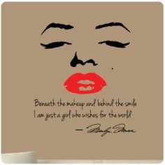 Marilyn Monroe Wall Decal Decor Quote Face Red Lips Large Nice Sticker Beneath the Makeup and Behind the Smile I Am Just a Girl Who Wishes f...