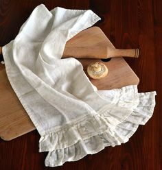 House of Baltic Linen - Natural stonewashed linen tea towel with ruffles, Ivory, $18.00 (http://www.houseofbalticlinen.com/natural-stonewashed-linen-tea-towel-with-ruffles-ivory/)