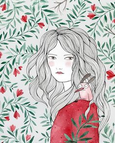 Muchacha, jardín y acompañante  estoy preparando nuevos prints que pronto estarán en nuestra tienda   #ladydesidia #escondites #watercolor