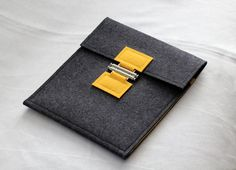 Wool Felt iPad Case in Charcoal Gray & Sunflower by BounceDesigns
