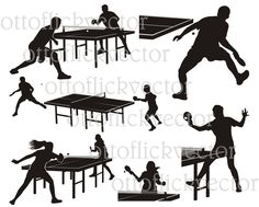 TABLE TENNIS VECTOR silhouette, ping pong clipart, cut, print, design eps, ai, cdr, png, jpg, indoor sport vectors, woman and man, athletes by ottoflickvector on Etsy