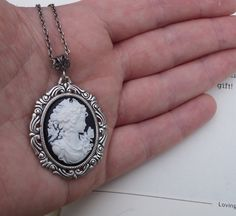 Cookies and Cream Petite Cameo Necklace- $26.00 - ETSY