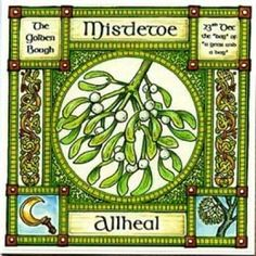 """Mistletoe, The Golden Bough, rules 23rd December, the day of the year and a day. The Celtic lunar calendar reckoned the year in 13 months of 28 days ~ 364 days, so to complete the year an extra day was added giving the year and a day. The Druids believed that Mistletoe was too sacred to be given a name or symbol, but called it """"Allheal"""" because of its powerful medicinal properties; it is now being tested as a possible cure for cancer. Druids cut the Mistletoe with a golden sickle, and caught…"""