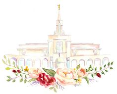 LDS Temple Watercolor Bountiful by SweetnSandy on Etsy