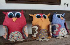 almofadas coruja patchwork