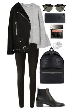 """School."" by ellie-directioner on Polyvore featuring Chanel, Yves Saint Laurent, J Brand, MANGO, Acne Studios, Ray-Ban и Burberry"
