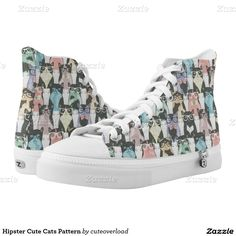 Hipster Cute Cats Pattern Printed Shoes. Custom Zipz. Regalos, Gifts. #zapatillas #shoes