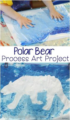 Children can fingerpaint a gorgeous Polar Bear Process Art project using this easy technique. The finished product is stunning!