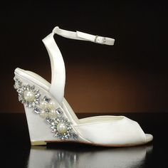 by Menbur. Choose from the largest selection of wedding shoes from top designers at My Glass Slipper. In-stock styles ship same day. Bridal Wedges, Wedding Wedges, Wedge Wedding Shoes, Bridal Shoes, Glass Slipper, My Glass, Perfect Wedding, Ankle Strap, Peep Toe