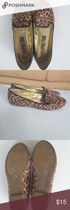size 9 Cosmopolitan leopard print loafers Leopard/ cheetah print loafers, smoking shoes, flats. Excellent condition. Only sign of wear is the logo is rubbing off on inside footbed but doesn't effect shoe at all. No scrapes or scratches. Cosmopolitan Shoes Flats & Loafers