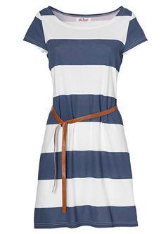 Belted jersey dress navy - John Baner Jeanswear order online - bonprix.co.uk
