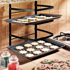 wonderful baking rack - a real space saver! Good for prepping pan after pan of cookies & good for cooling the racks that come out of the oven!.