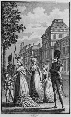 Supervised walk of the royal family (Louis XVII, Marie Antoinette, Madame Elisabeth, and Marie-Therese Madame Royale) under house arrest in the Tuileries gardens, after their forced return from the failed escape to Varennes, July 1791. Engraving, Paris (French National Library)