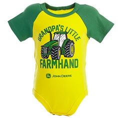 "John Deere Newborn Boys Yellow ""Grandpa's Little Farm Hand"" Onesie | WeGotGreen.com"