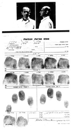 Jerusalem, Israel, Police photographs and fingerprints of Adolf Eichmann.
