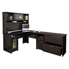 Cabot L Shaped Desk with Hutch and Lateral File Cabinet in Espresso Oak >>> More info could be found at the image url.Note:It is affiliate link to Amazon.