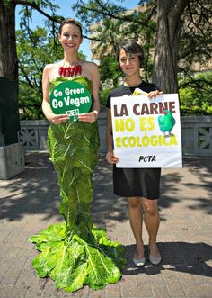 How Do #PETA Beauties Do Earth Day? Dressed in a collard green dress, letting people know just how wasteful eating meat can be! #GoVegan #EarthDay