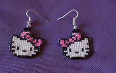 AF  Hello Kitty Delica Bead Pixel Art Earrings by AestheticFantasy