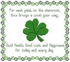 Shamrock Wishes cross stitch pattern.