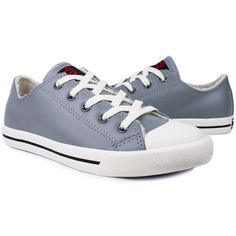 Gray Leather Lace-Up Sneakers for Women.