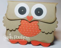 Stampin' Sarah! Stampin' Up! Retro Fresh Owl Tutorial. How to make your own little owl card or gift box using the Top Note Bigz Die and Designer Series Papers