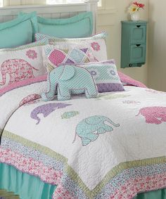 My quilt inspiration! Look at this Elephantastic Embroidered Quilt Set by Britannica Home Fashions Blue Comforter, Comforter Sets, Girls Quilts, Baby Quilts, Trendy Bedroom, Girls Bedroom, Bedroom Ideas, Quilt Sets, Quilt Blocks