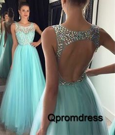 Modest prom dress, cute blue tulle open back ball gown for teens, prom dresses long #coniefox #2016prom
